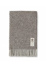 So Cosy Plaid 100% wool Diamond pattern Taupe/Gray