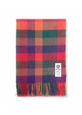 So Cosy Plaid 100% Baby Alpaca wool Orange/Green/Purple
