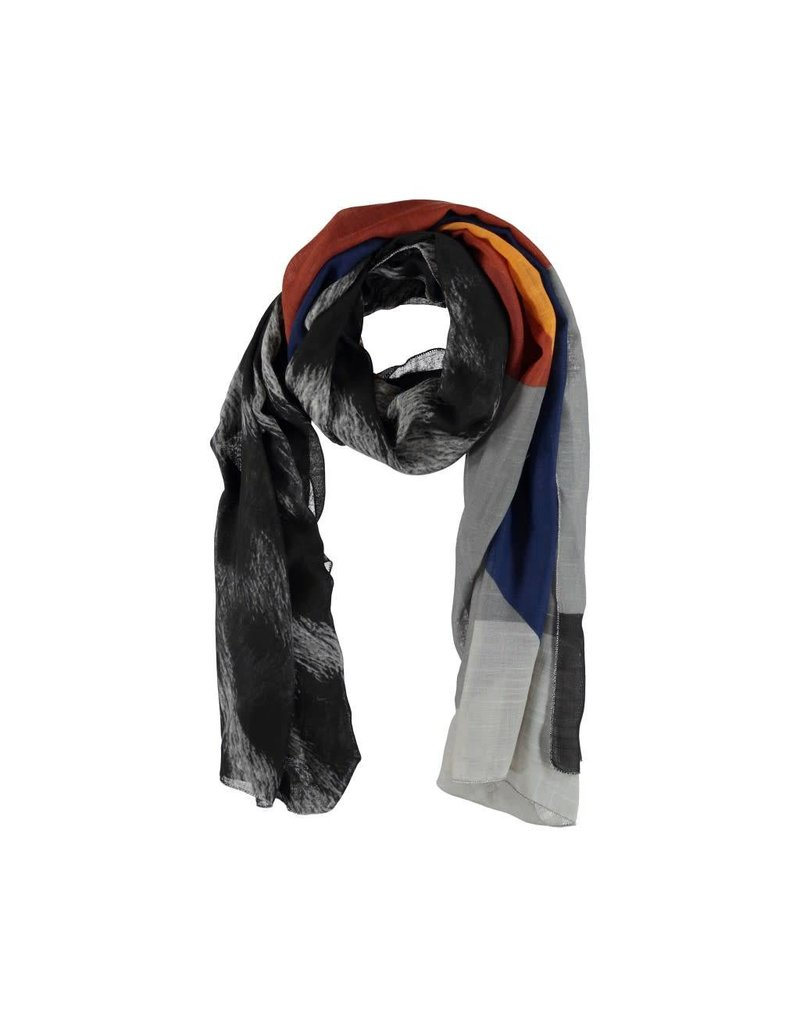 Scarf black / brown / yellow / blue with stripes