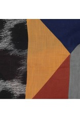 Sjaal zwart/bruin/geel/blauw met strepen