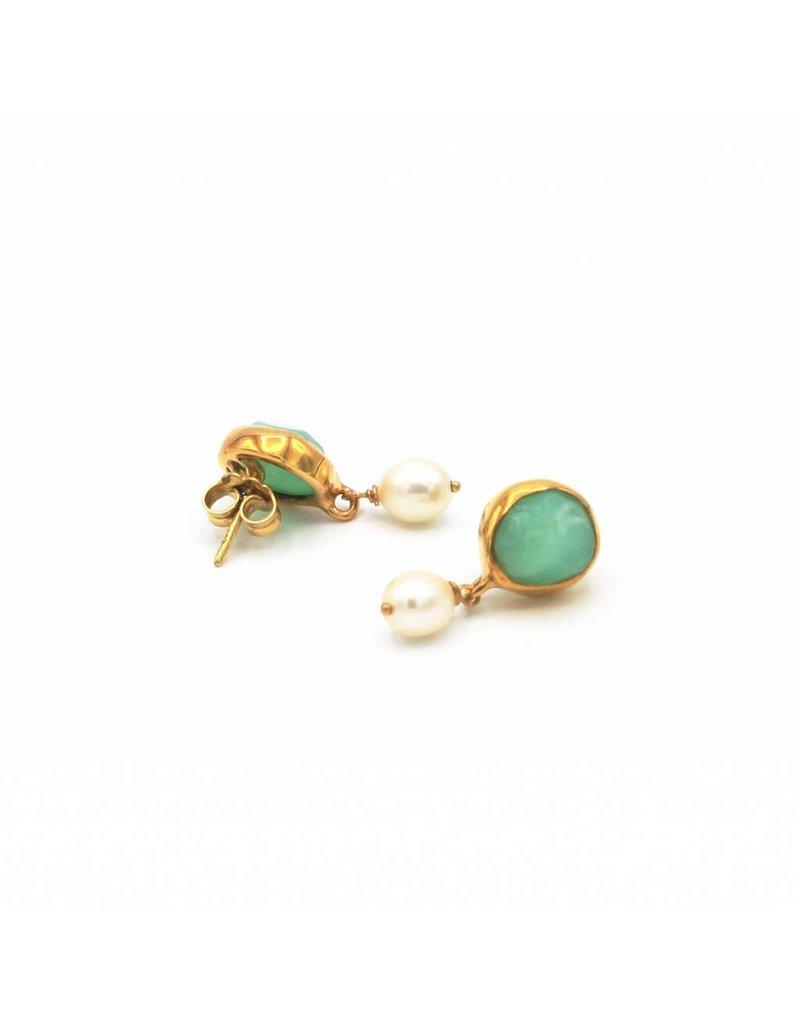 Tonia Makri Earrings with light green gemstone and white pearl