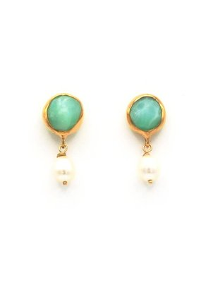 Tonia Makri Earrings with light green gemstone and white pearl