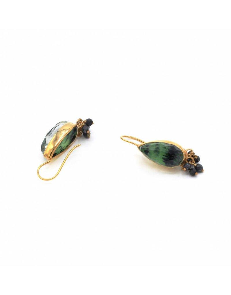 Tonia Makri Gold plated silver earrings with dark green Zoisite, Quartz, and Hematite gemstones