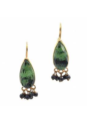 Tonia Makri Earrings with dark green gemstones
