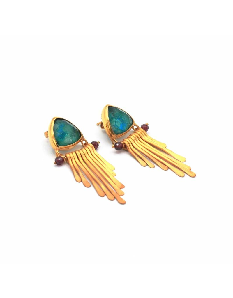 Tonia Makri Gold plated silver earrings with Chrysocolla, quartz, and rhodolite gemstones