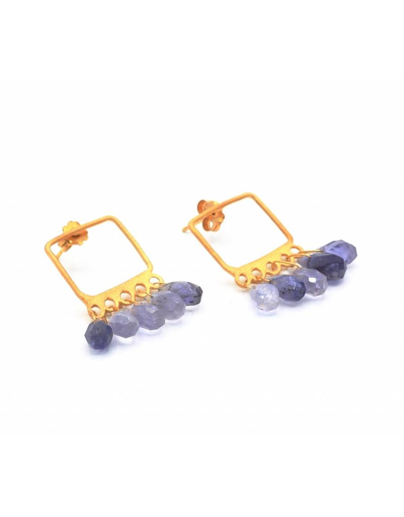 Tonia Makri Gold plated silver earrings with violet iolites gemstones