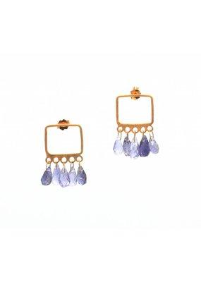 Tonia Makri Earrings with violet gemstones