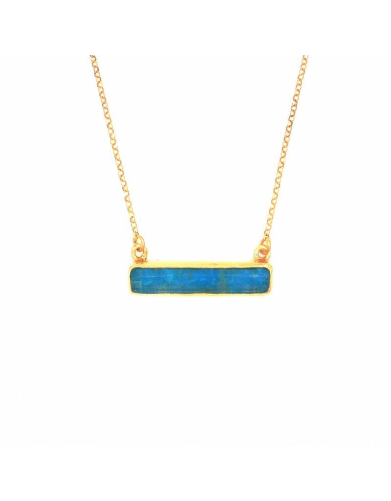 Tonia Makri Ketting zilver verguld met blauwe Chrysocolla en Kwarts edelsteen
