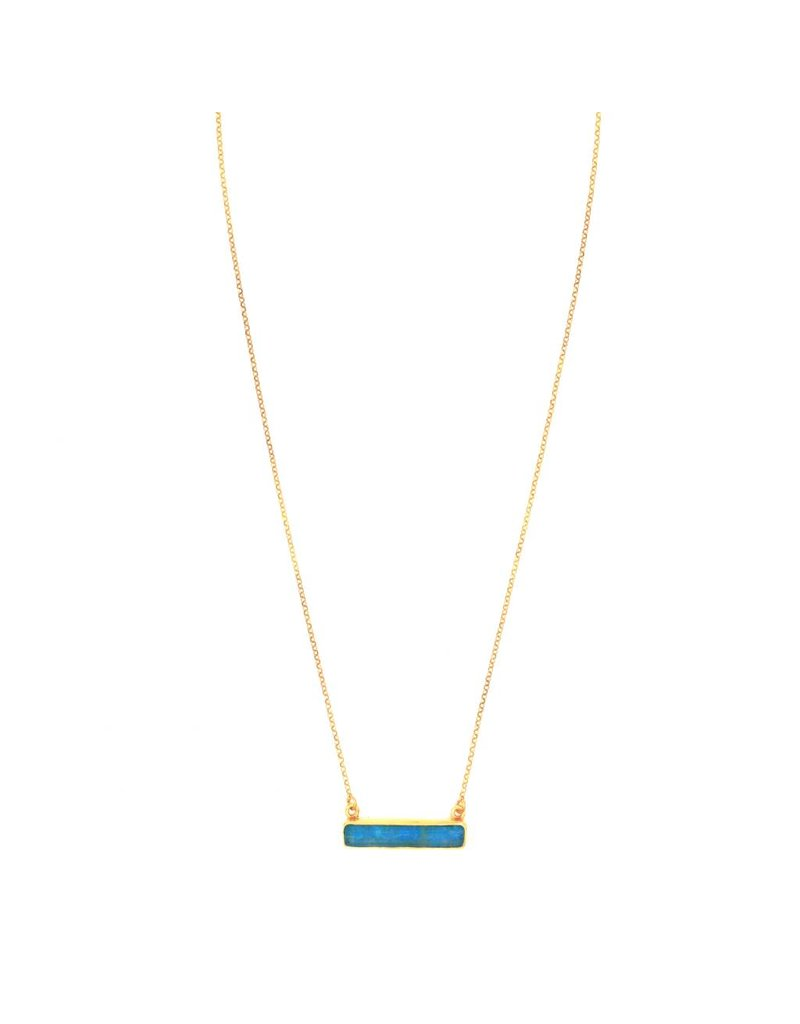 Tonia Makri Necklace silver plated with blue Chrysocolla and Quartz gemstone