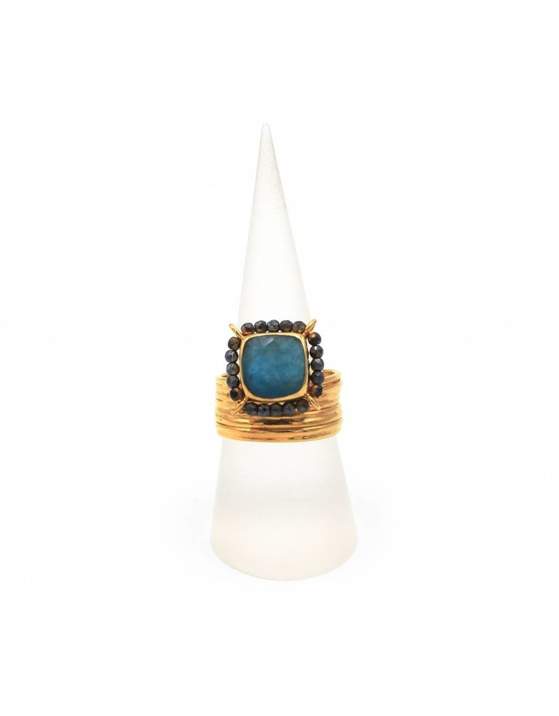 Tonia Makri Ring silver plated with blue Apatite, Quartz and Rhodolite gemstones