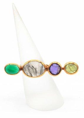 Tonia Makri Ring zilver verguld met verschillende edelstenen