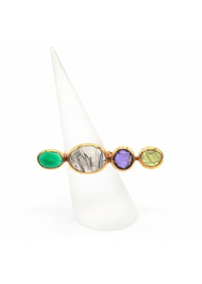 Tonia Makri Ring silver plated with different gemstones