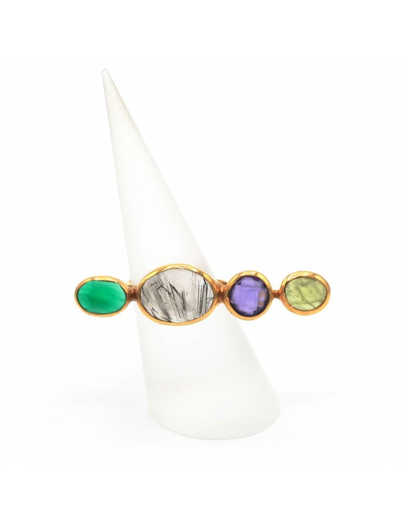 Tonia Makri Silver plated ring with bright green Peridot, gray Tourmalinit, violet Amethyst and green Agate gemstones