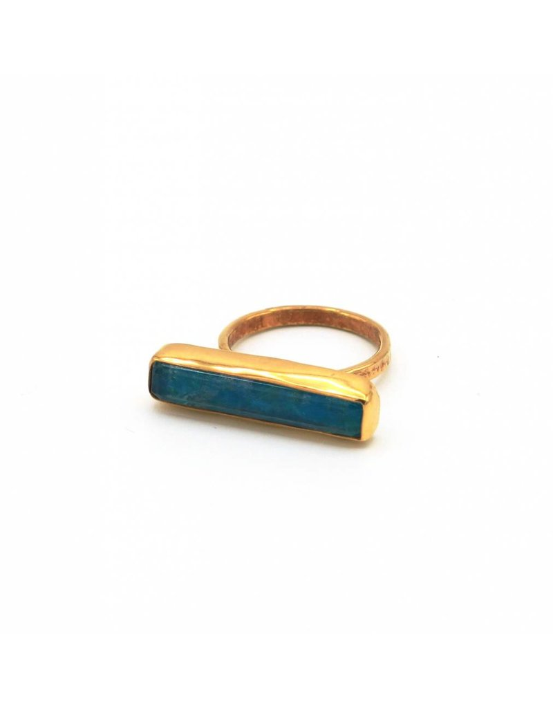 Tonia Makri Ring silver plated with blue chrysocolla and quartz gemstones