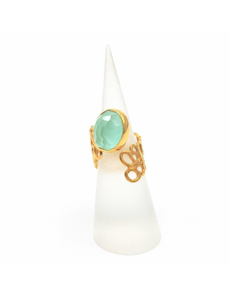 Tonia Makri Ring silver plated with light green Chrysoprase gemstone and Quartz