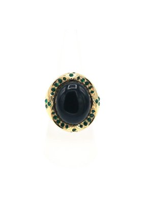Ring with green stone and Swarovski crystals