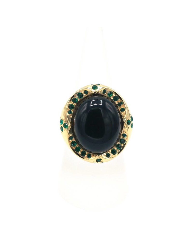 Silver plated ring with green stone and green Swarovski crystals