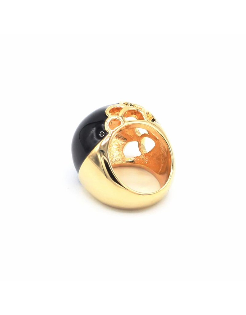 Silver plated ring with large black round stone