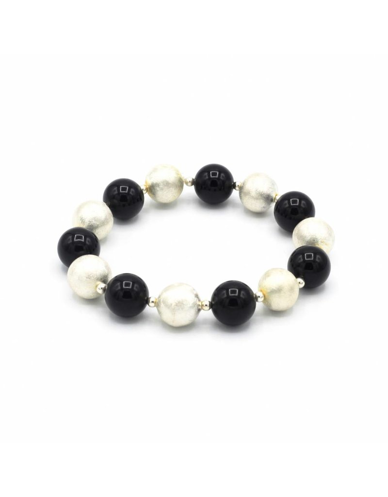 Bracelet with elastic black and silver beads