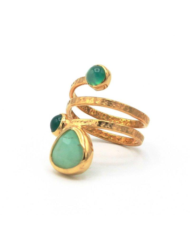 Tonia Makri Ring zilver verguld met groene Chrysoprase en Agate edelstenen