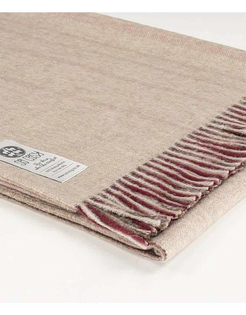 So Cosy Plaid 100% Baby Alpaca wol Verticale strepen Bordeaux/Roze
