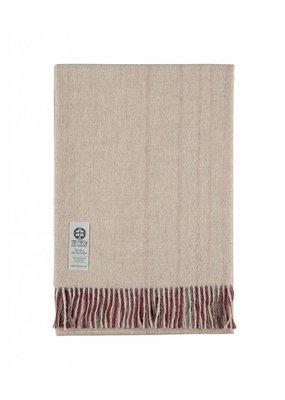 So Cosy Plaid 100% Baby Alpaca wool Vertical stripes Bordeaux / Pink