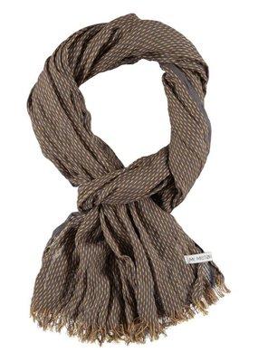 Sjaal bruin met gele streepjes