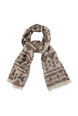 Sjaal beige/bruin/oranje met geometrisch motief