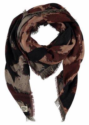 Sjaal vierkant donkerbruin met beige vlekken en zwarte vogels