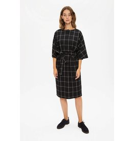 Zenggi Flannel Check Kimono Dress Black