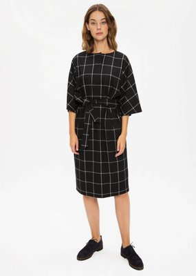 Zenggi Flannel Check Kimono Dress Black