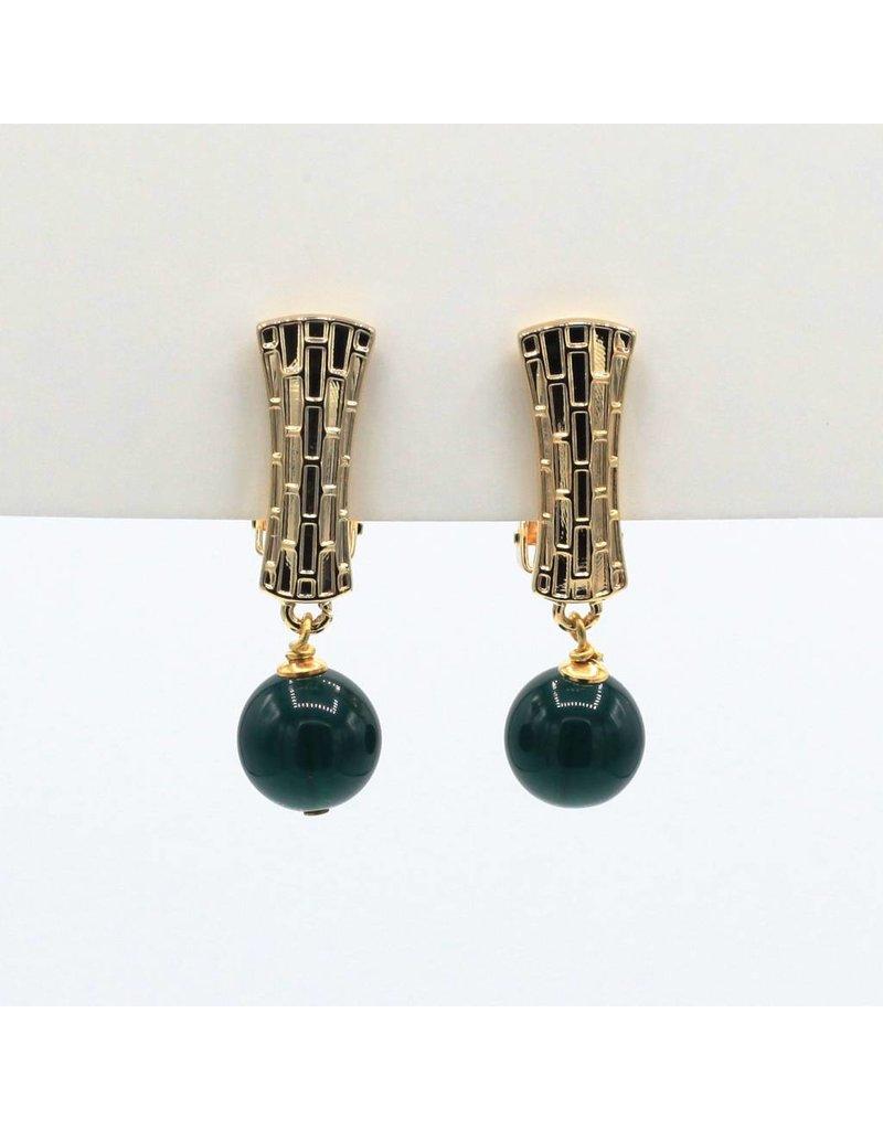 Earrings with dark green pearls