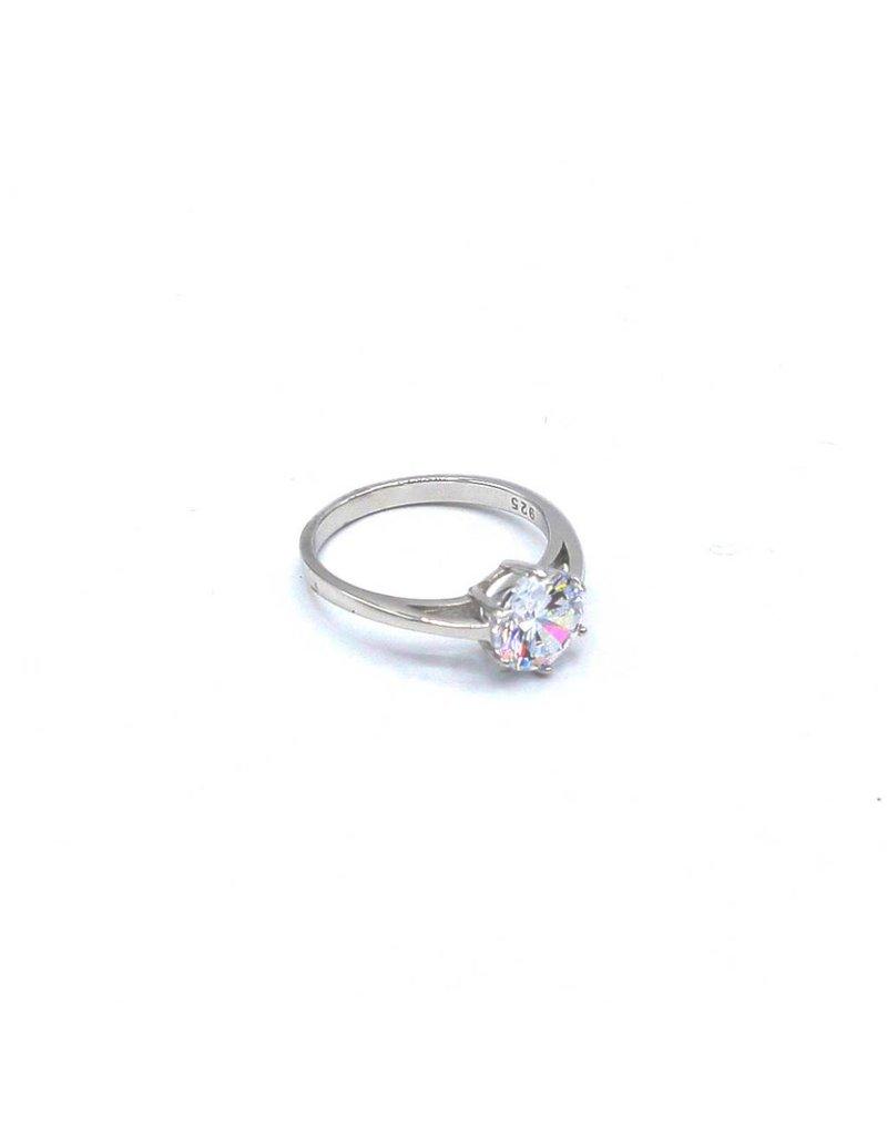 Zilveren ring met Zirkonia solitaire