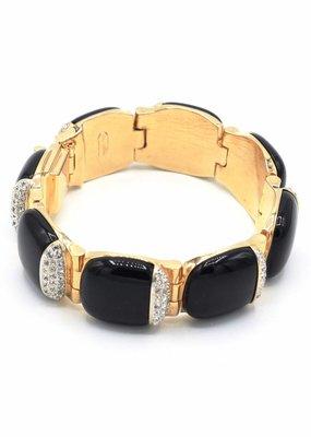 Armband met zwarte schakles en Swarovski kristal