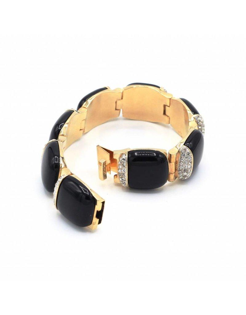 Bracelet with black links and Swarovski crystal