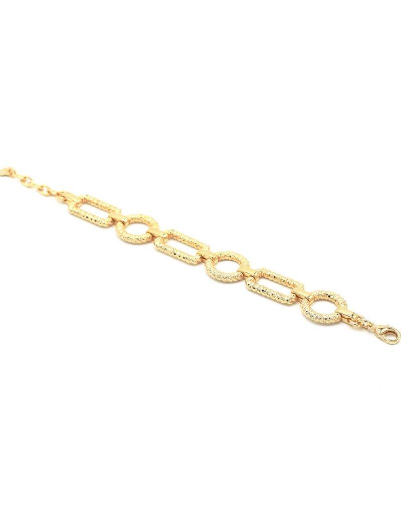 Armband verguld met ronde en rechthoekige schakel
