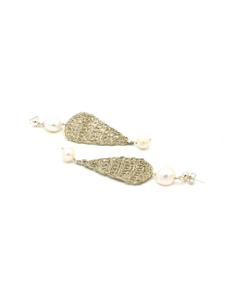 Vasso Galati Large gold plated silver wire earrings with pearls