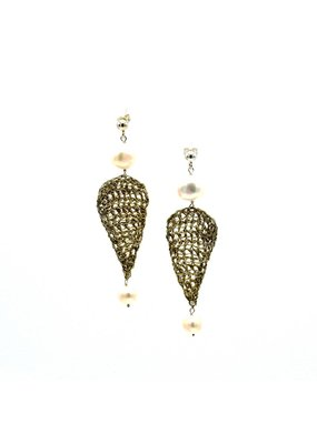 Vasso Galati Large silver wire earrings with pearls