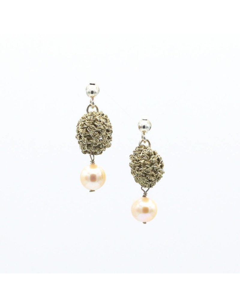 Vasso Galati Gold plated silver wire earrings with small pearl