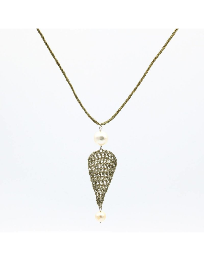 Vasso Galati Long necklace gold plated silver wire with detail and pearls