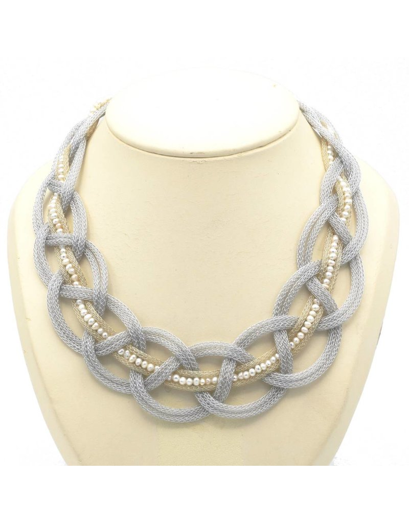 Vasso Galati Necklace with braided silver thread and small pearls