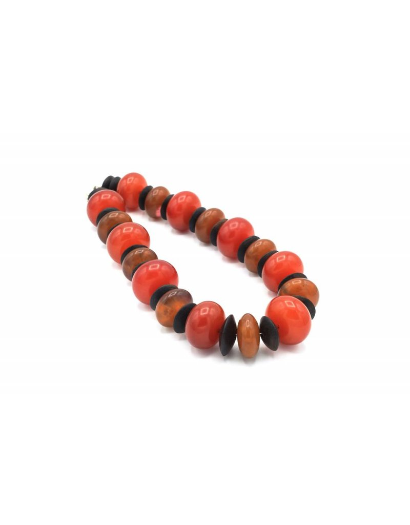 Necklace with large red and orange beads