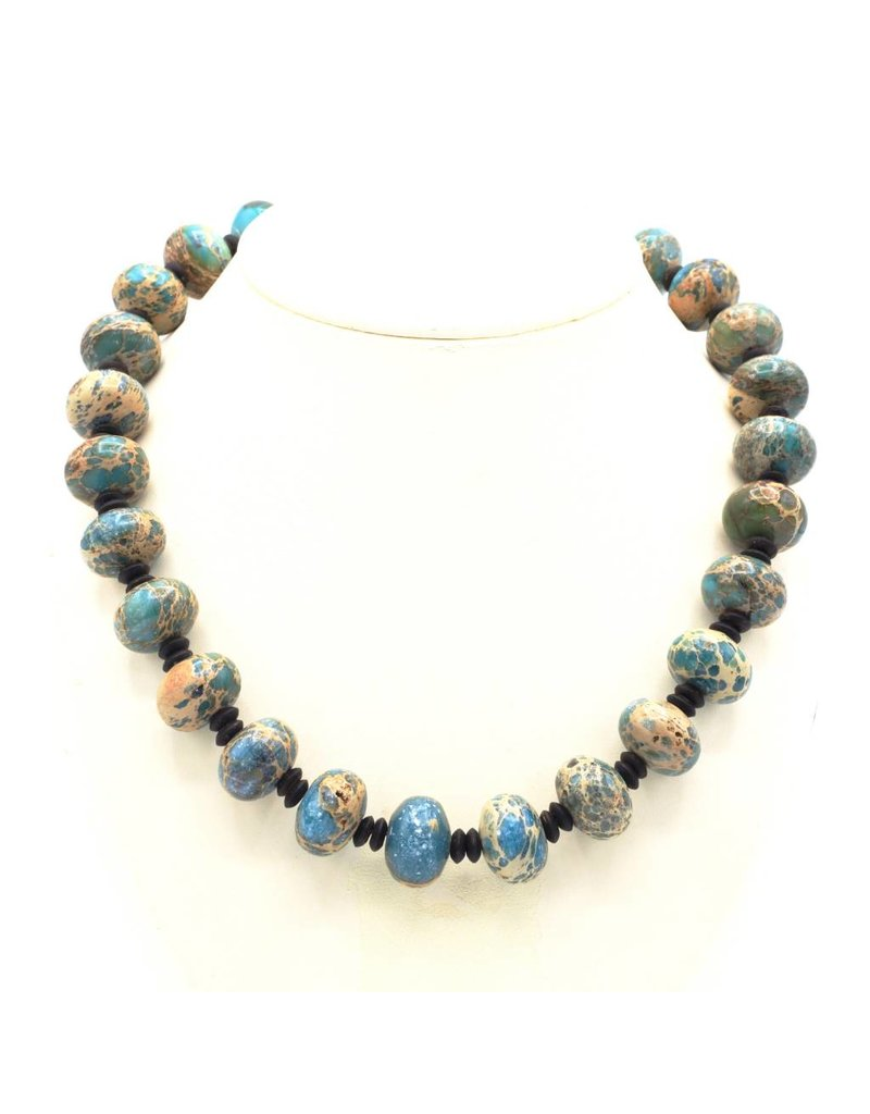 Necklace with blue Amazonite beads