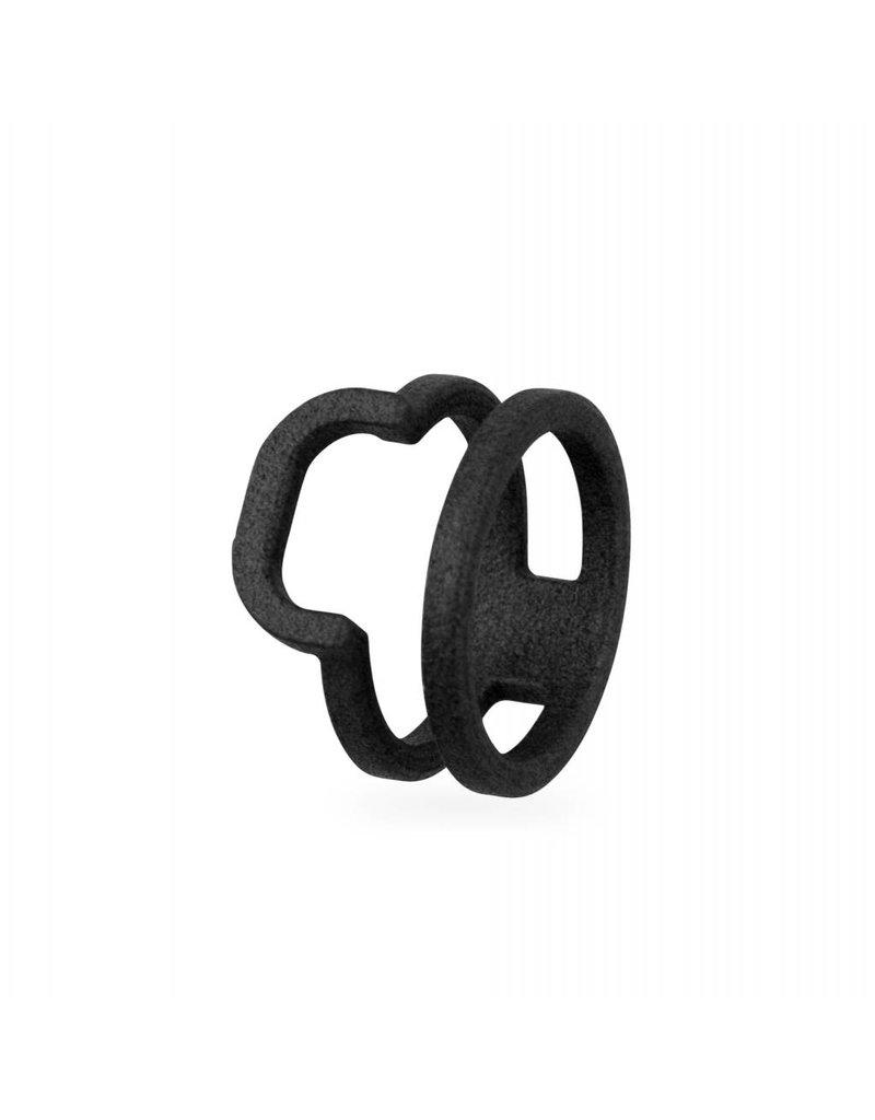 Ola Zwarte dubbele ring met afgeronde hoek
