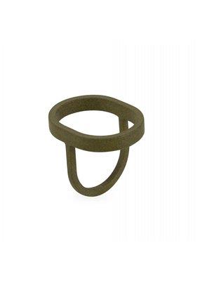 Ola Ring grote ovaal olijfgroen