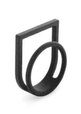 Ola Ring dubbel met kader zwart