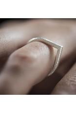 Ola Verzilverde ring in druppel vorm