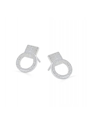 Ola Earrings studs circles silver