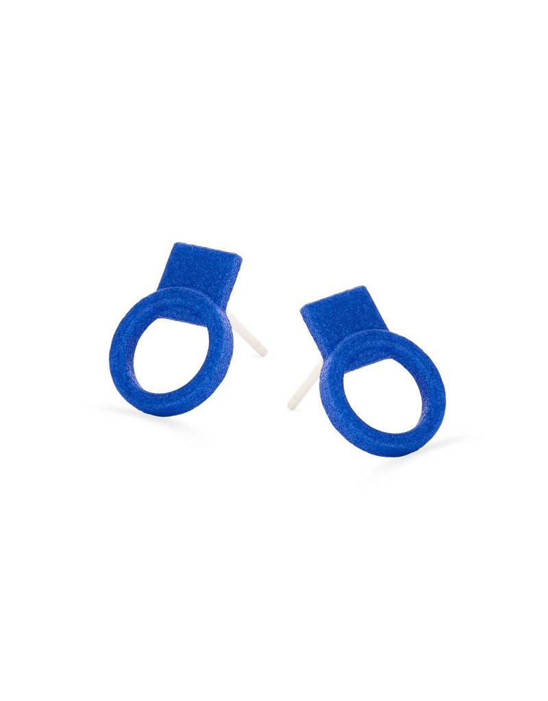 Ola Earrings studs circles blue
