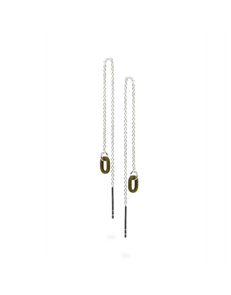 Ola Long chain earrings with olive green oval